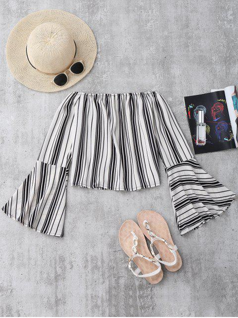 unique Stripes Flare Sleeve Off The Shoulder Blouse - WHITE S Mobile