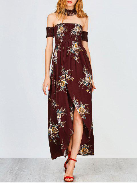 Slit Floral Shirred Waist Maxi Tube Dress - Bourgogne S Mobile