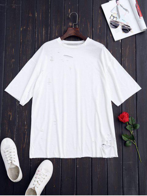 women Ripped Longline Shift T-Shirt - WHITE M Mobile