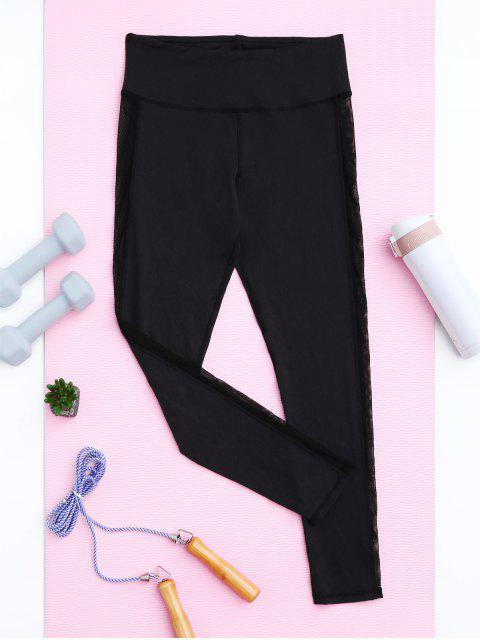 chic Skinny Mesh Panel Sporty Leggings - BLACK M Mobile