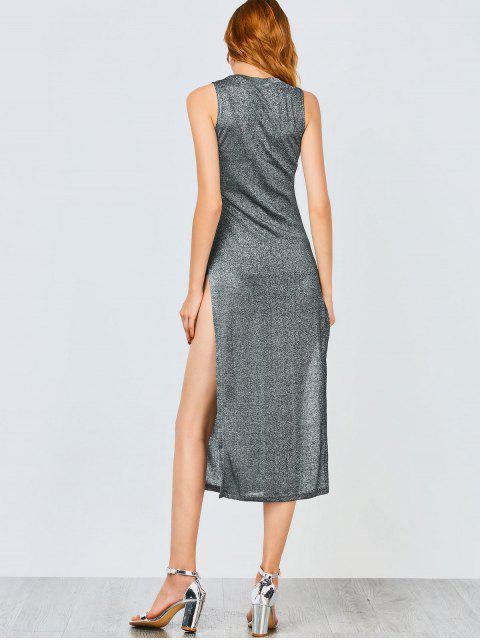 shop Sleeveless High Slit Club Dress - FROST M Mobile