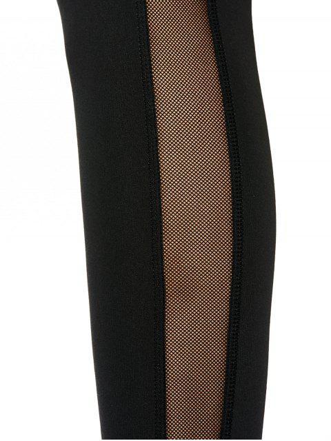 fashion Skinny Mesh Panel Sporty Leggings - BLACK L Mobile