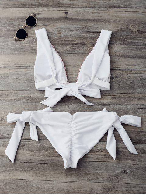 fashion Contrast Lace High Cut Plunge Bikini Set - WHITE S Mobile