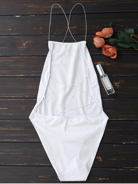 Combinaison à dos-nu à betelles de croisillons - Blanc TAILLE MOYENNE Mobile