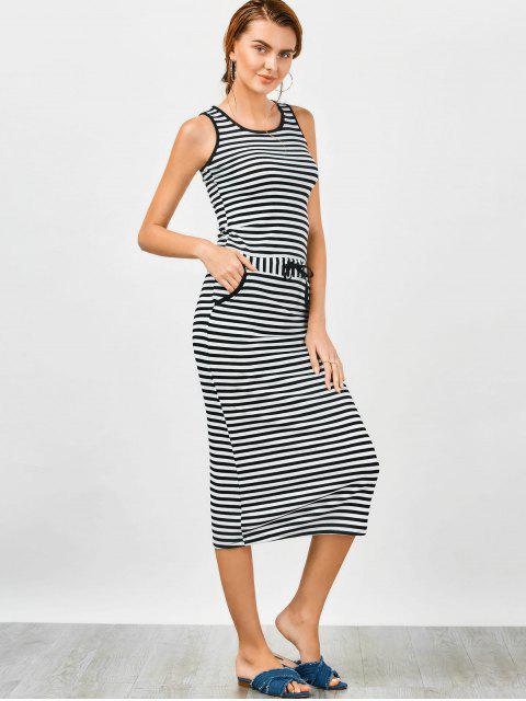 ladies Drawstring Waist Striped Tank Dress - WHITE ONE SIZE Mobile