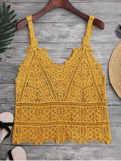 Hollow Out Crochet Cami Cubrir - Jengibre Única Talla Mobile