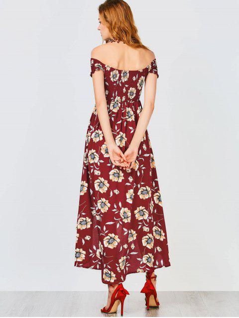 latest Floral Off Shoulder Shirred Asymmetric Maxi Dress - BURGUNDY S Mobile