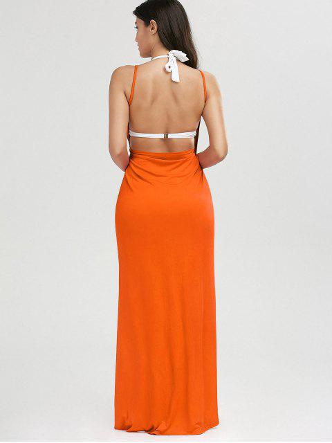 ladies Beach Maxi Wrap Slip Dress - ORANGE RED S Mobile