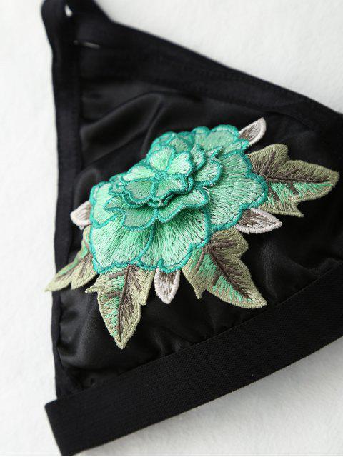 Strappy floral Applique Bra - Vert L Mobile