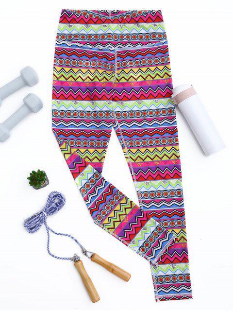 Leggings deportivos flacos de impresión tribal - Colores Mezclados L Mobile