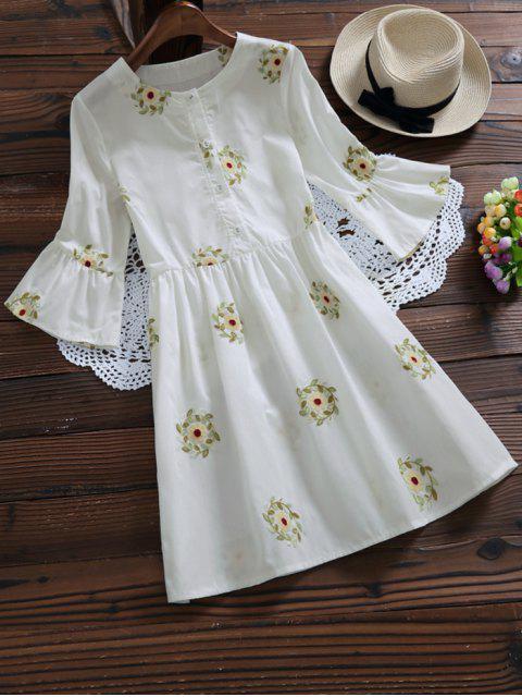 Robe Manches Évasées Brodée Florale - Blanc S Mobile