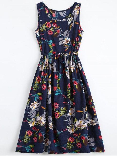 Blume-Druck Kordelzug ärmelloses Midi Kleid - Blumen XL  Mobile