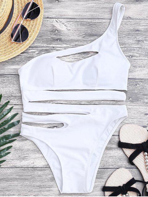 Bandage Asymmetrischer Einteiliger Monokini Badeanzug - Weiß M Mobile