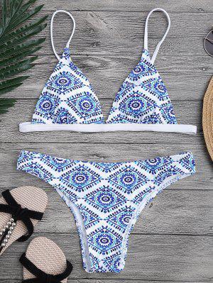 Traje De Bikini Con Escote Pico Con Relleno Con Estampado De Azulejo - Azul Y Blanco L