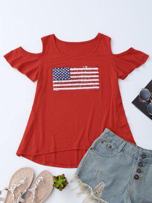 American Flag Sequins Cold Shoulder T-Shirt - Rojo L