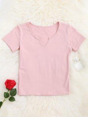 Camiseta Con Cuello En V - Rosa M