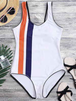 Striped Contrasting Piped One Piece Swimsuit - White S