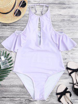 High Cut Keyhole Neck One Piece Swimsuit - Purple L