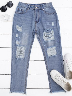 Zip Fly Frayed Hem Ripped Jeans - Denim Blue L