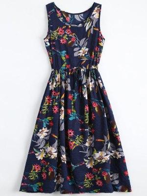 Blume-Druck Kordelzug ärmelloses Midi Kleid