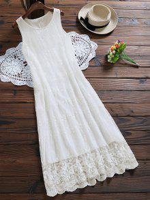 بلا أكمام تول الدانتيل فستان ماكسي - أبيض L