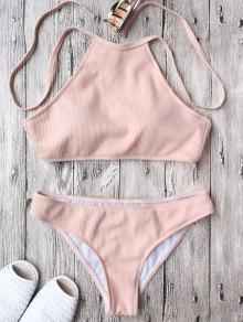Traje De Bikini Acanalado Texturizado Con Cuello Alto - Rosa S