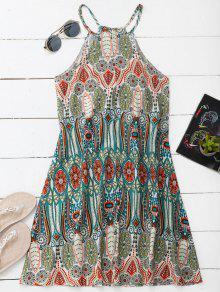 High Neck Printed Tunic Dress - L