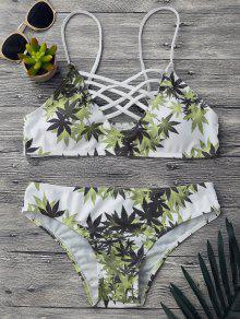 Buy Padded Weed Print Strappy Bikini Set - WHITE S