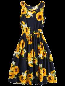 Sleeveless Drawstring Waist Sunflower Dress - Floral M