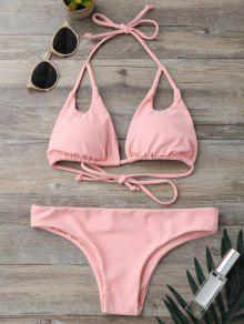 Cut Out Padded Halter Thong Bikini - Pink S
