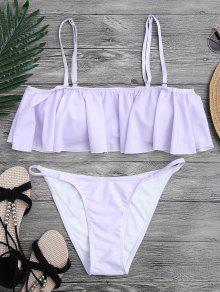 Flutter Off The Shoulder Bikini Set - Purple S