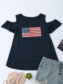 American Flag Sequins Cold Shoulder T-Shirt - Purplish Blue L