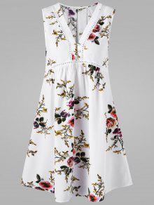 Robe Sans Manches à Encolure En V - Blanc Xl