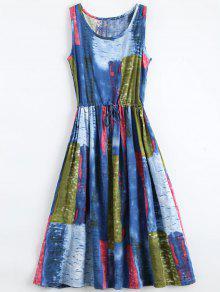 Drawstring Waist Sleeveless Print Dress - L