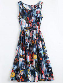 Butterfly Painted Drawstring Sleeveless Dress - M