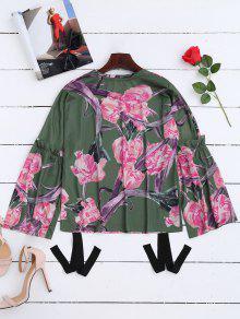 M Llamarada Camiseta La De Verde Floral La Manga De Ya8RBnPa