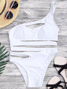Bañador De Monokini Asimétrico De Vendaje En Una Pieza - Blanco S