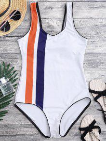 Striped Contrasting Piped One Piece Swimsuit - White L