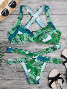 Leaf Print Cross Back Bandage Bikini Set - Green S
