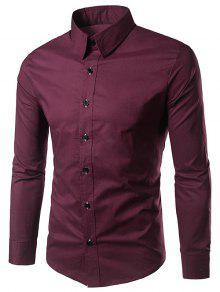 الأكمام الطويلة قميص عادي - نبيذ أحمر M