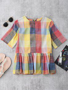 Ruffles Bowknot Checked Top - Checked S