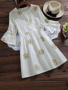 Floral Bordado Vestido De Manga De Llamarada - Blanco S