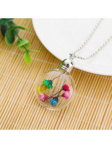 الزجاج الكرة الجافة قلادة قلادة الزهور - متعدد الألوان