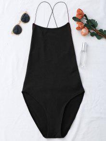 Sin Espalda Criss Cross Bodysuit - Negro