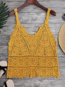 Hollow Out Crochet Cami Cover Up - Ginger