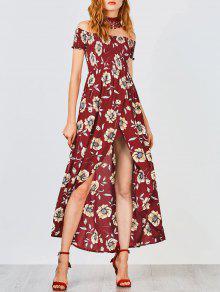 Floral Off Shoulder Shirred Asymmetric Maxi Dress - Burgundy L