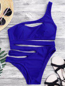 ضمادة غير المتماثلة قطعة واحدة مونوكيني ملابس السباحة - أزرق L