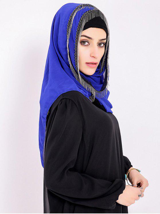 chic Chiffon Muslim Gossamer Metal Fringed Hijab Headscarf - ROYAL