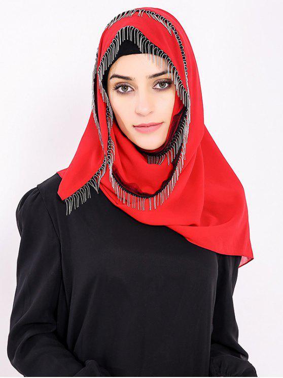trendy Chiffon Muslim Gossamer Metal Fringed Hijab Headscarf - RED