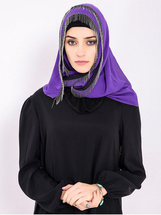 latest Chiffon Muslim Gossamer Metal Fringed Hijab Headscarf - PURPLE